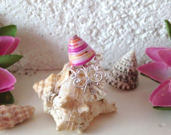 Bohemian ring in platinum silver filigree and Pearl paper Cone, mauve-pink-yellow-orange