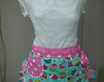 Aprons - Womens Cupcake Aprons - Cupcake Party Aprons -  Pink Cupcake Aprons - Teachers Gifts - Annies Attic Aprons - Sweet 16 Party Aprons