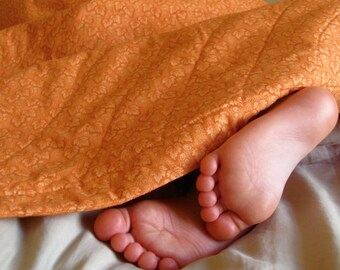 Orange You Glad It's Not Pink ORGANIC Baby Quilt - Eco Friendly Pumpkin Bedding - Fall Leaves -  Unisex Quilted Blanket