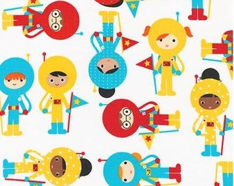 Super Kid Astronauts on White (Primary) from Robert Kaufman's Space Explorers Collection by Ann Kelle