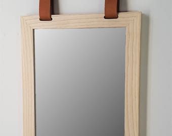 Ash Wood and leather mirror
