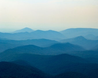Blue Ridge Mountains Print, Fine Art Photography, Ridgeline Silhouette