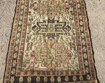 "40"" x 56"" pastel rug , rug, vintage rug , small rug, small pastel rug, decorative rug"