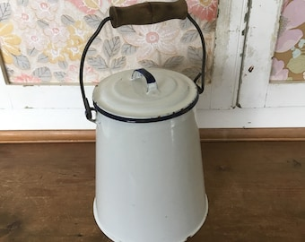 Vintage White Enamel Pail with wooden handle