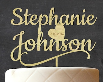 Custom Wood Cake Topper, Wooden Cake Topper, Rustic Topper, Wedding Cake Topper, Personalized Name Cake Topper, Engagement Gift CATO-W21