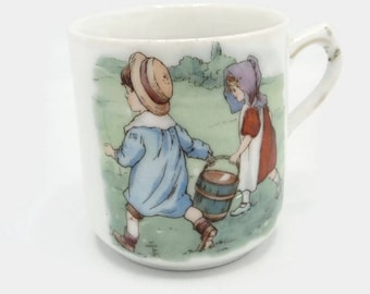 Antique German Jack And Jill Child's Cup Mug