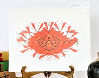 Charley Harper Art,Vintage Cardinal Print, MCM Art Print, Harper Art Print, Bird Ephemera Prints, Charles Harper Art, Charlie Harper art
