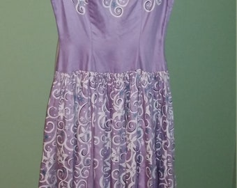 1950s Lavender Abstract Print Full Skirt Dress
