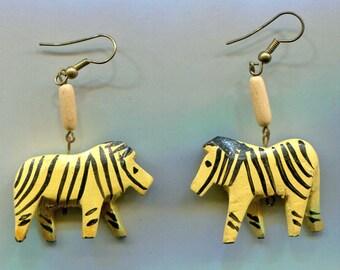 Wooden Zebra Pierced Earrings