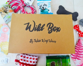 WILD BOX. Gift dog pack with bandana, bow tie, toy, accesories and treats. Birthday dog