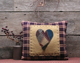 Primitive Stitchery Pillow, Patchwork Tweed Heart, Primitive Decor