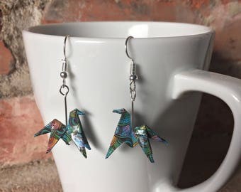 Origami paper horses Colorescadeaux Christmas gift Christmas earrings