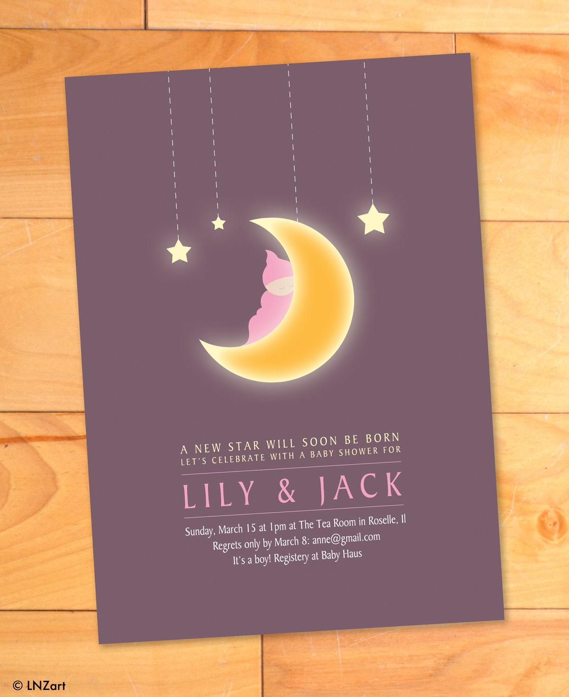 Baby Shower Invitation Moon Stars Custom Modern On Blue Moon Baby