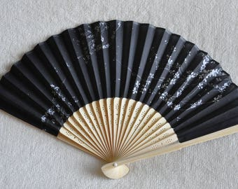 Black Sakura  Hand Fan -Handheld Folding Fan, Japanese Hand Fan, wedding pink ,girls hand fan,folding fan