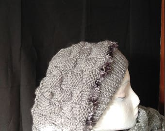 Grey Slouchy hat. Hand knitted my own design.