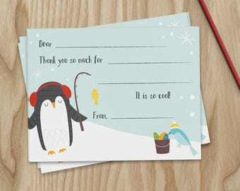 Fishing Penguin Fill In Thank You