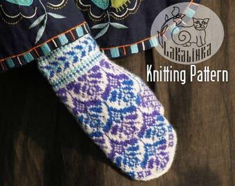 Knitting pattern PDF- Mittens - Women - teens - stranded colorwork - festive ornaments - flowers - English pattern