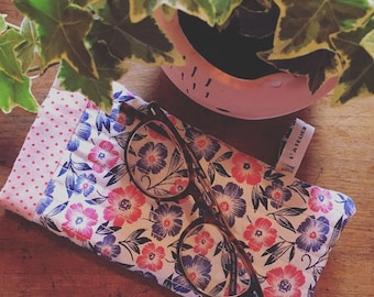 Cases sunglasses - pink/blue flowers pattern
