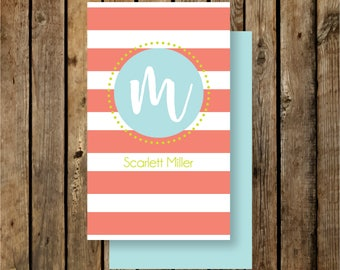 Personalized Calling Cards / Gift Tags / Coral and Aqua / Script Inital and Stripes