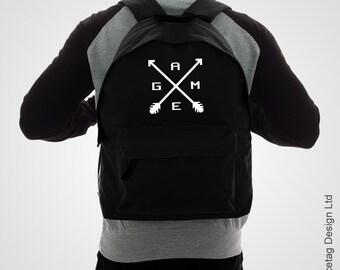 Gaming Cross Arrow Backpack Video Game RuckSack Retro Gaming Bag Pixel Continue Merch Videogame Accessory Unisex Gamer Work Bags Black 8bit