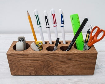 Oak Wood Large Desk Organizer for Tools, Personalized Office & Home Organizer, Pencil Holder, Office Decor, Desk Decor, Unique Gift for ALL