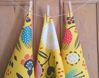 Yellow floral tea towel mid century design