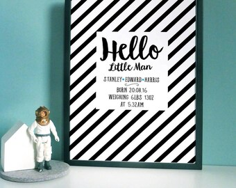 Personalised Baby Strip Print (little man/little lady)