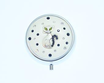 Elegant White  Cat Jeweled Pill Box