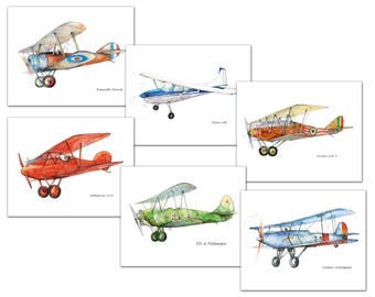 Vintage airplane decor nursery Set 6 prints Propeller planes Vintage first world war aircraft artwork Boys nursery wall decor Gift for pilot