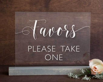 Acrylic Wedding Favors Sign | Favors Please Take One Acrylic Sign | Acrylic Favors Sign | Wedding Favors Sign | Acrylic Wedding Sign - AS-16