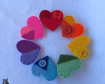 Patchwork Heart Brooch//Felt Patchwork Heart Brooch