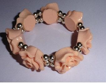 Camelia Flower Bracelet. Peach colour.