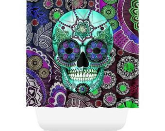 Sugar Skull Shower Curtain - Purple and Green Paisley Skull Bath Curtain - Dia De Los Muertos Bathroom Decor - Sugar Skull Sombrero Night