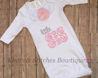 Embroidered little sis flower gown