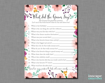 What did the Groom Say about his Bride? What did He Say about Her? Who Knows Groom Best? Wedding Shower, Newlyweds Game, Bridal Shower Game