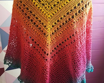 Rainbow-colored shawl or wrap, really bright and light, hooked in cotton and acrylic, pattern from Cécile Balladino