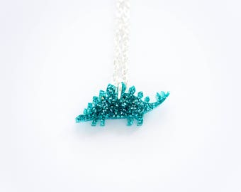 Tiny Glitter Stegosaurus Dinosaur Necklace. Sparkly Dinosaur Necklace. Dinosaur Pendant. Glitter Acrylic Jewellery. Stocking Stuffer