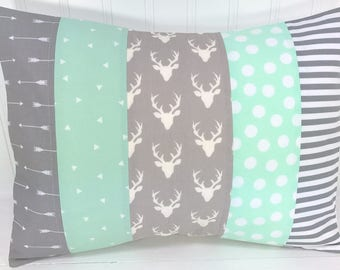 Woodland Pillow Cover, Decorative Pillows, Cushion Cover, Throw Pillows, 12 x 16, Nursery Decor, Home Decor, Pillow, Deer, Mint, Gray, Grey