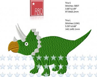 Dinosaur Triceratops Herbivore Horns Beak great for Dino Fan Embroidery Design Cute  PES many formats  Applique 4x4 + 5x7 hoop - Zip File