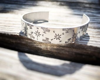 Hand Stamped Aluminum Bracelet - Navigation   Compass Cross