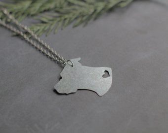 Recycled Metal Pitbull Head Pittie Silhouette Necklace