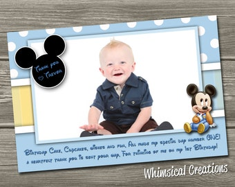 Mickey Mouse Thank You Photo Card  (Digital File) - Mickey Mouse