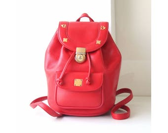 MCM Bag Leather small Red Backpack Authentic
