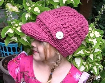 Youth Brim Hat In Deep Pink with strap and buttons