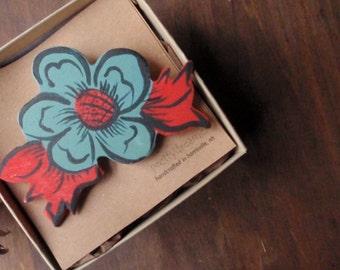 norwegian rose wood brooch- folk inspired pin
