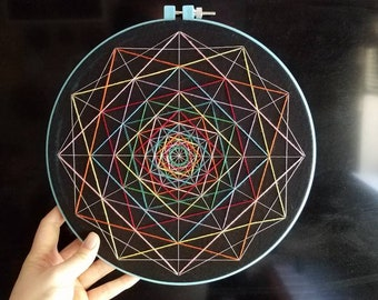 Disorganized Rainbow - Hand Stitched Embroidery - 10 Inch Hoop Art