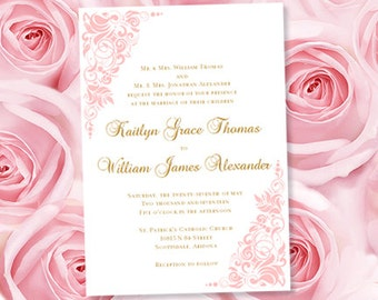 """Printable Wedding Invitation """"Gianna"""" Blush Pink Template Make Your Own Wedding Invitations Instant Download All Colors Av. DIY You Print"""