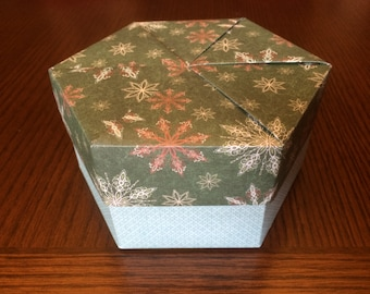 Large Christmas Origami Hexagon Box with Lid
