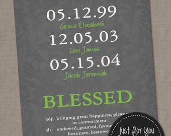 Special Dates Wall Art - Birth Dates - Family Gift - Children, Parents, Grandchildren - Custom Colors and Text - YOU PRINT Poster Sign