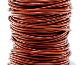 50 Meter Spool of 3MM Saddle Brown Round Leather Cord (50 Yards) (50m)